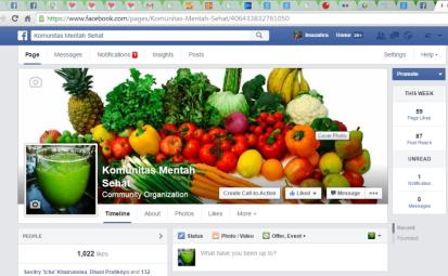 Capture halaman muka fanspage Komunitas Mentah Sehat yang saya buat sejak Oktober 2012