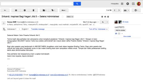 Email dari humas Srikandi, Inspirasi Bagi Negeri jilid 5